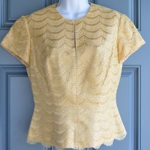 * Gold Met. Lace Overlay Top by Carmen Marc Valvo